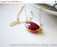 SALE Ruby Necklace  July Birthstone Necklace  by MamacitaStudios, $31.49
