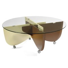 Gio Ponti; Painted Plywood, Metal and Glass Occasional Table, 1970.