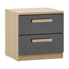 Buy House by John Lewis Mixit Block Handle 2 Drawer Bedside Chest, Gloss Grey/Natural Oak Online at johnlewis.com