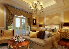 Remakable Bedroom Design with Yellow Wall Paint Color and Cream Fabric Bedroom Sofa feat Yellow Brown White Pillows and Cream Wooden Coffee Table and Cream Sofa Chair also Pendant Lamps and Curtains