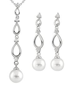 White Shell Pearl Drop Pendant & Earrings