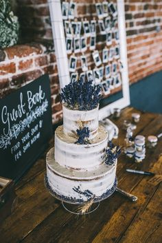 Buttercream Naked Cake Lavender Rustic Magical Bohemian Barn Wedding http://www.jamespowellphotography.co.uk/