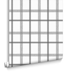 Plaid Charcoal and White Wallpaper, , large