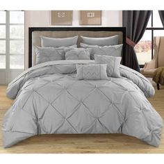 Valentina Pinch Pleated & Ruffled Comforter Set 10 Piece (Queen) Beige - Chic Home Design Elegant Comforter Sets, Twin Comforter Sets, King Comforter, Bedding Sets, Home Design, Interior Design, Ruffle Comforter, Gray Comforter, Silver Bedding