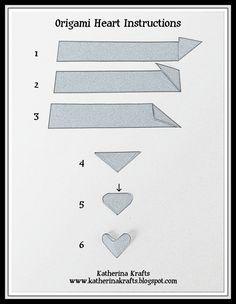 Katherina Krafts: Instructions on How to Fold Origami Hearts Paper Hearts Origami, 3d Origami Heart, Instruções Origami, Origami Yoda, Origami Ball, Origami Dragon, Origami Bookmark, Origami Stars, Modular Origami
