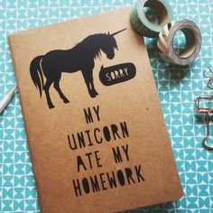 Afbeeldingsresultaat voor my unicorn ate my homework Unicorn Diys, Unicorn Quotes, Unicorn And Glitter, Unicorn Party, Personalized School Supplies, Diy School Supplies, Laura Lee, Cute Notebooks, Journals