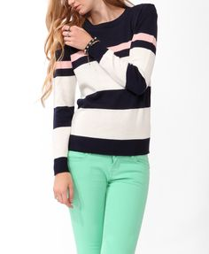 Colorblocked Crew Neck Sweater | FOREVER21 - 2030187122