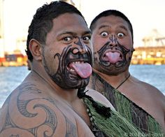 By displaying fierce facial expressions and grimaces, waving weapons, poking out the tongue, bulging and showing the whites of the eyes, and uttering grunts and cries, the Maori hoped to invoke the war God and frighten their opponents.