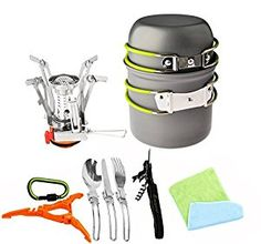 $27.99 12pcs Camping Cookware Stove Canister Stand Tripod Folding Spork Wine Opener Carabiner Set Bisgear(TM) Outdoor Camping Hiking Backpacking Non-stick Cooking Non-stick Picnic Knife Spoon Dishcloth