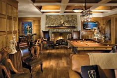 Brown Mountain Billiards Room: Some of the river rocks used for this impressive fireplace were salvaged from the original home preceding this rebuild. Games Room Inspiration, Rustic Games, Game Room Bar, Family Room, Home And Family, Billiard Room, Interior Design Magazine, Entertainment Room, Room Interior