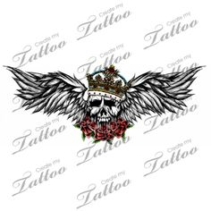 Marketplace Tattoo Crowned Flying Skull & Roses #2780 | CreateMyTattoo.com