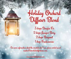 Holiday Orchard Diffuser Blend #douglasfir #juniperberry #bergamot #frankincense #essentialoils #diffuserblend For more information about the essential oils I use, please contact me at sandra@essentialoilsforhome.com.