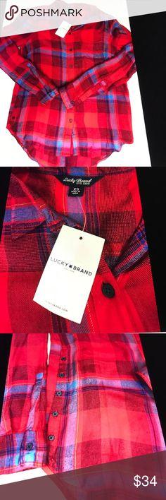Lucky Brand Women's Plaid shirt XS New red / blue Lucky Brand Plaid shirt XS red and blue side button detailing 37 long 18 across Tops Button Down Shirts