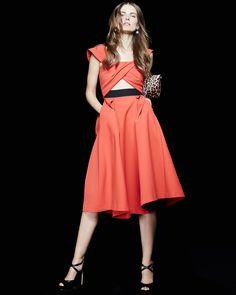 Self Portrait - Ayelette Cutout Double-Crepe Dress, Red