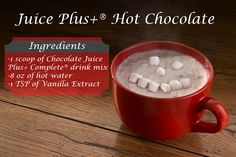 Healthy hot chocolate recipe with Juice Plus Complete. Delicious creamy annas sm… Healthy hot chocolate recipe with Juice Plus Complete. Hot Chocolate Ingredients, Healthy Hot Chocolate, Chocolate Shake, Hot Chocolate Recipes, Chocolate Treats, Juice Plus Shakes, Shake Recipes, Smoothie Recipes, Juice Recipes