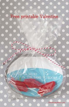 "OMG these are too cute! ""I'm glad we're in the same school"" free Valentine printable from iheartnaptime.com . Print out and put in a plastic bag with Swedish fish."