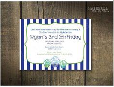 Custom Stripe Cupcake Birthday Invitation by HairballDesigns, $45.00