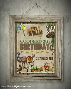 It's a set of Australian Animals 8x11inch & 11x14inch Party Welcome Signs, featuring a Kangaroo & Koala that you can Personalise, EDIT & PRINT YOURSELF. Printing Services, Online Printing, Reptile Party, Party Co, Birthday Dates, Australia Day, Online Invitations, Australian Animals, Party Signs