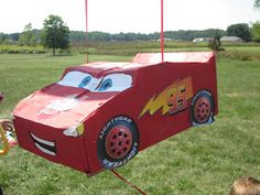 Because I Said So (and Other Mommyisms): DIY Pull-String Lightning McQueen Pinata Lightning Mcqueen, 3rd Birthday Parties, Toddler Bed, Two By Two, Craft Projects, Crafts, Diy, Party Ideas, Child Bed
