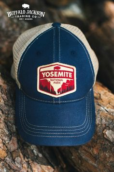 Rugged 6 panel unstructured Yosemite National Park trucker | baseball | guide hat. Nylon mesh back.