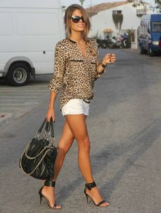 Cheetah top with long chiffon fabric and white shorts. For casual weekend. Although I would pair it w beige heeled sandals.