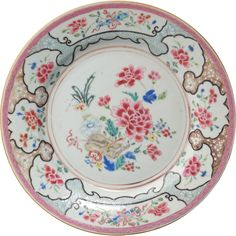 Chinese export over glaze enamel famille rose porcelain plate 18th century