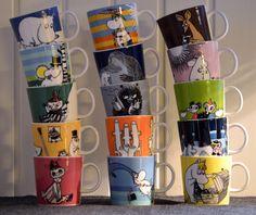 Moomin mugs. Har kjærlighetskoppen, mummumamma, mummipappa, lille my