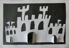 PODOBY STAVEB - zobrazit libovolný druh stavby, tvořit průhledy prostříháváním papíru, kontrast umocnit podložením černého papíru (papírořez)