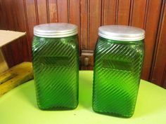 Vintage Owens Illinois Green Glass Canister Set of by peacenluv72, $72.50
