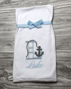 Baby boy coming home outfit nautical newborn baby gift blue and baby boy coming home outfit nautical newborn baby gift blue and gray anchor letter personalized baby blanket monogram baby shower present negle Gallery