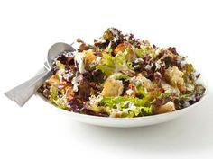 Food Network Magzine's Almond Caesar Salad with homemade croutons!