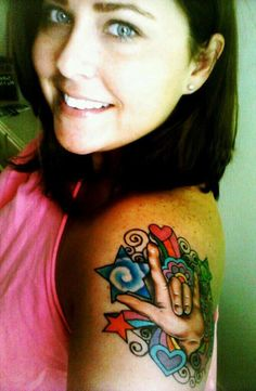 My first tattoo, sign language, colorful Cute Tattoos, Beautiful Tattoos, Beautiful Hands, Body Art Tattoos, New Tattoos, Awesome Tattoos, Tatoos, Asl Tattoo, Tattoo Signs
