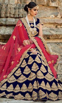 Blue Designer Bridal Lehenga-