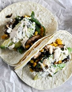 Grilled Corn, Avocado, Mushroom + Roasted Poblano Tacos with Chipotle Crema