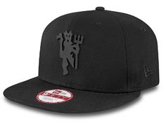 Tonal Black Manchester United Devil Snapback Cap by NEW ERA