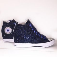 $15 OFF with code: PINNED15 Womens Navy Blue Glitter Converse All Stars high top Wedge Heel wedding bride bridal shoes sneakers