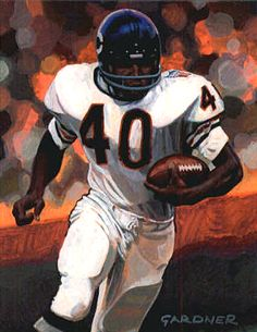 Gale Sayers, Chicago Bears by Stephen Gardner, Nfl Football Players, Bears Football, Football Art, School Football, Vintage Football, Chicago Bears Pictures, Gale Sayers, Bear Gallery, Walter Payton