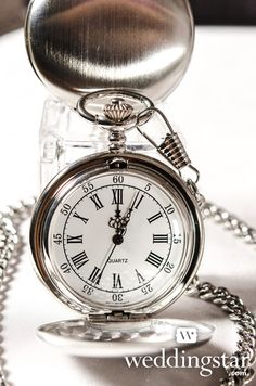 Pink Color Story Wedding Lookbook. Brushed Silver Pocket Watch {gift, wedding favor/favour, groomsmen gift, antique, vintage, clock}