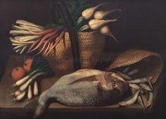 Bottega di Sebastiano Ceccarini - Natura morta con grosso pesce, cipolle novelle, sporta con rape e altra sporta con pesci