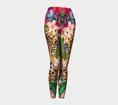 Funky Leopard Jungle Floral Leggings, Festival Clothing, Fitness, Feathers, Fashion Tights, Yoga Leggings, Dance Wear, Gym, Active Wear Funky Leggings, Floral Leggings, Yoga Leggings, Printed Leggings, Funky Cushions, Striped Cushions, Festival Clothing, Festival Outfits, Harajuku Clothing