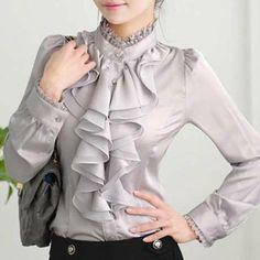 Bluza de primavara si vara pentru femei, stil office, cu maneca lunga si guler stil tunica, din sifon cu volane Ruffle Blouse, Shirts, Outfits, Clothes, Tops, Women, Fashion, Women's Work Fashion, Women's