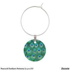 Peacock Feathers Patterns Wine Glass Charms