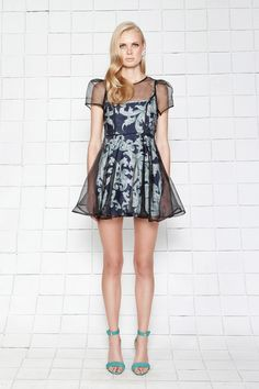 Let It Go Dress black/navy by Cameo (AUD $179.95) - sheer gathered dress with printed slip