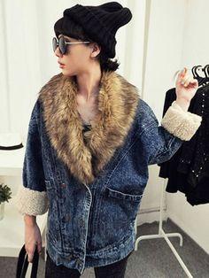 Fur Collar Batwing Sleeve Loose Denim Coat