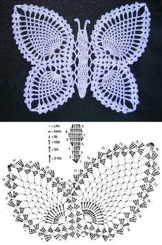 ВЯЗАНИЕ. МОТИВЫ КРЮЧКОМ Filet Crochet, Crochet Bra, Crochet Dollies, Crochet Diagram, Thread Crochet, Crochet Motif, Irish Crochet, Crochet Butterfly Free Pattern, Crochet Applique Patterns Free