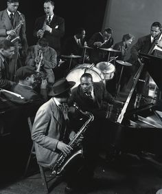 Count Basie, Lester Young, and other jazz greats at Gjon Mili's Studio in New York, Jazz Artists, Jazz Musicians, Gjon Mili, A Love Supreme, Dizzy Gillespie, Count Basie, Classic Jazz, My Romance, Cool Jazz