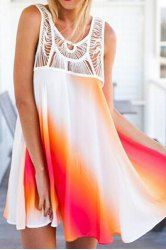 Casual Print Openwork Sleeveless Lace Splicing Bohemia Dress For Women