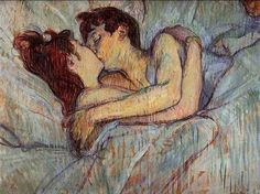 Henri de Toulouse-Lautrec - In Bed: The Kiss (1892) This artwork features two women caught up in a passionate moment. In fact, the artist considers this painting as the epitome of pleasurable and sensual delight. The color scheme that he selected was brilliant with shades of red and yellow, which were subdued by grey, green and blue. This enchanting masterpiece expresses the tender love shared by the couple, as though they were fearful of being separated from each other. #art…