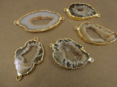 Wholesale Druzy Link Connector Tiny Sparkly Horse Eye Agate Druzy Geode Connector Pendant Gold Plated Natural Stone Drusy Jewelry Supplies