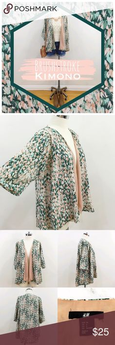 •H&M• brush stroke printed green & nude kimono Abstract brushstroke print kimono with rose pink lining from H&M.  Beautiful color combination of greens and pinks.  Wear it revealing the lining or belt it and hide the lining.  It transforms a simple outfit from drab to fab!!!  100% polyester.  Machine wash cold. H&M Jackets & Coats